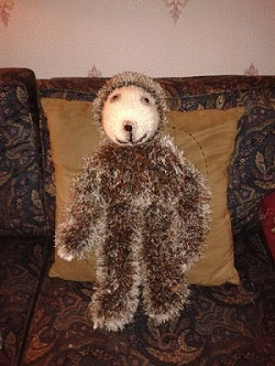 hand knitted wool toy sloth