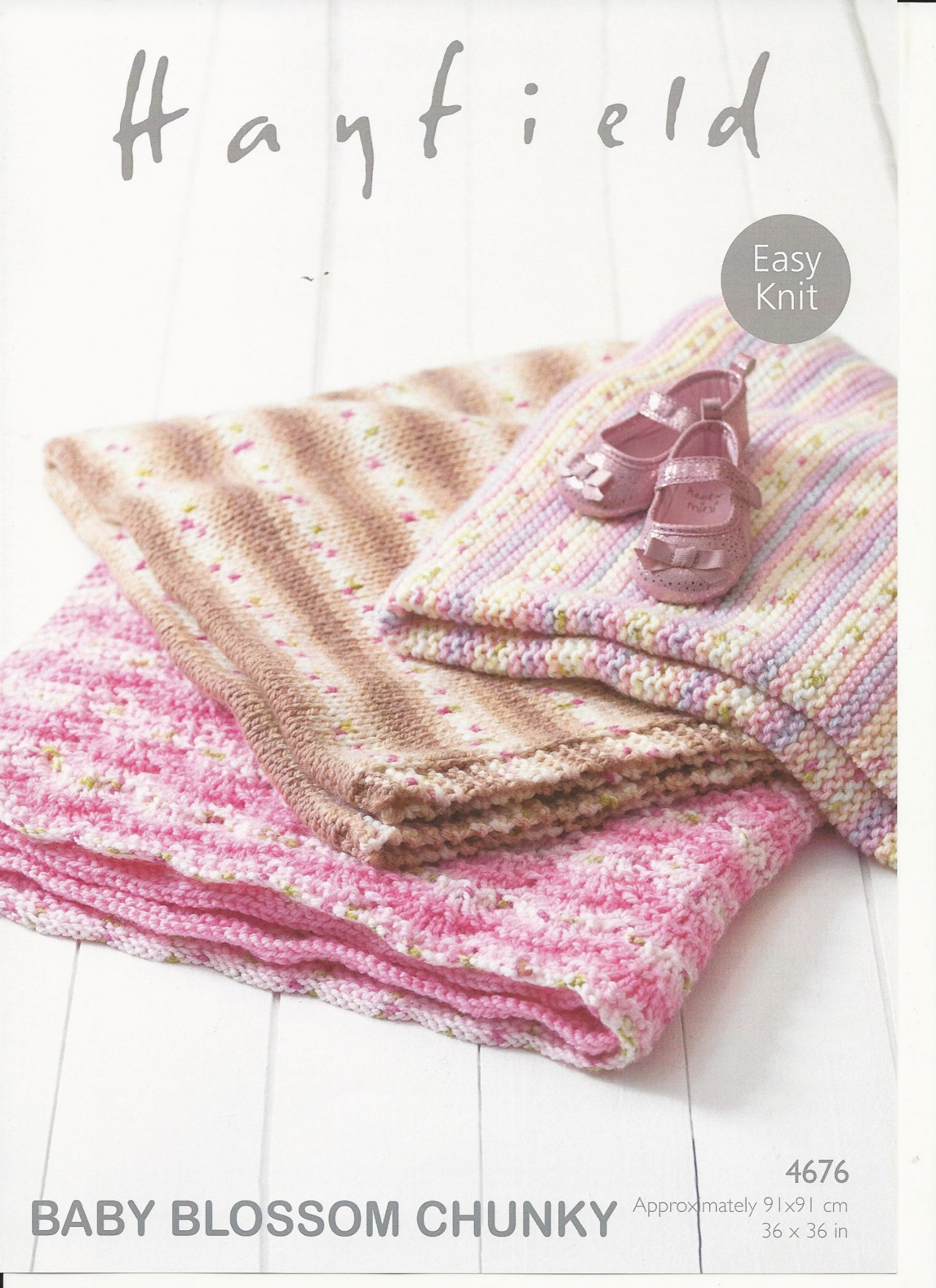 Hayfield Knitting Patterns For Babies : Hayfield Babies Blankets Knitting Pattern in Baby Blossom Chunky 4676