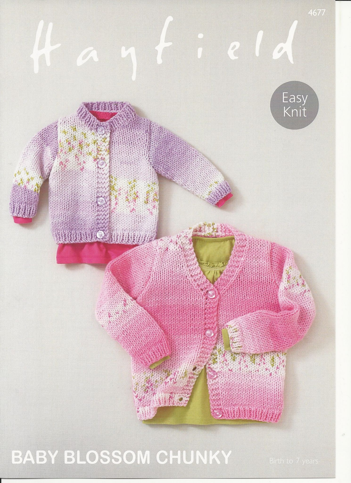 Hayfield Babies Cardigans Knitting Pattern in Baby Blossom Chunky 4677