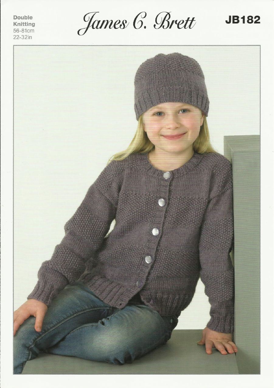 Children s Cardigan Knitting Patterns : James C Brett Childrens Cardigans & Hat DK Knitting Pattern JB182