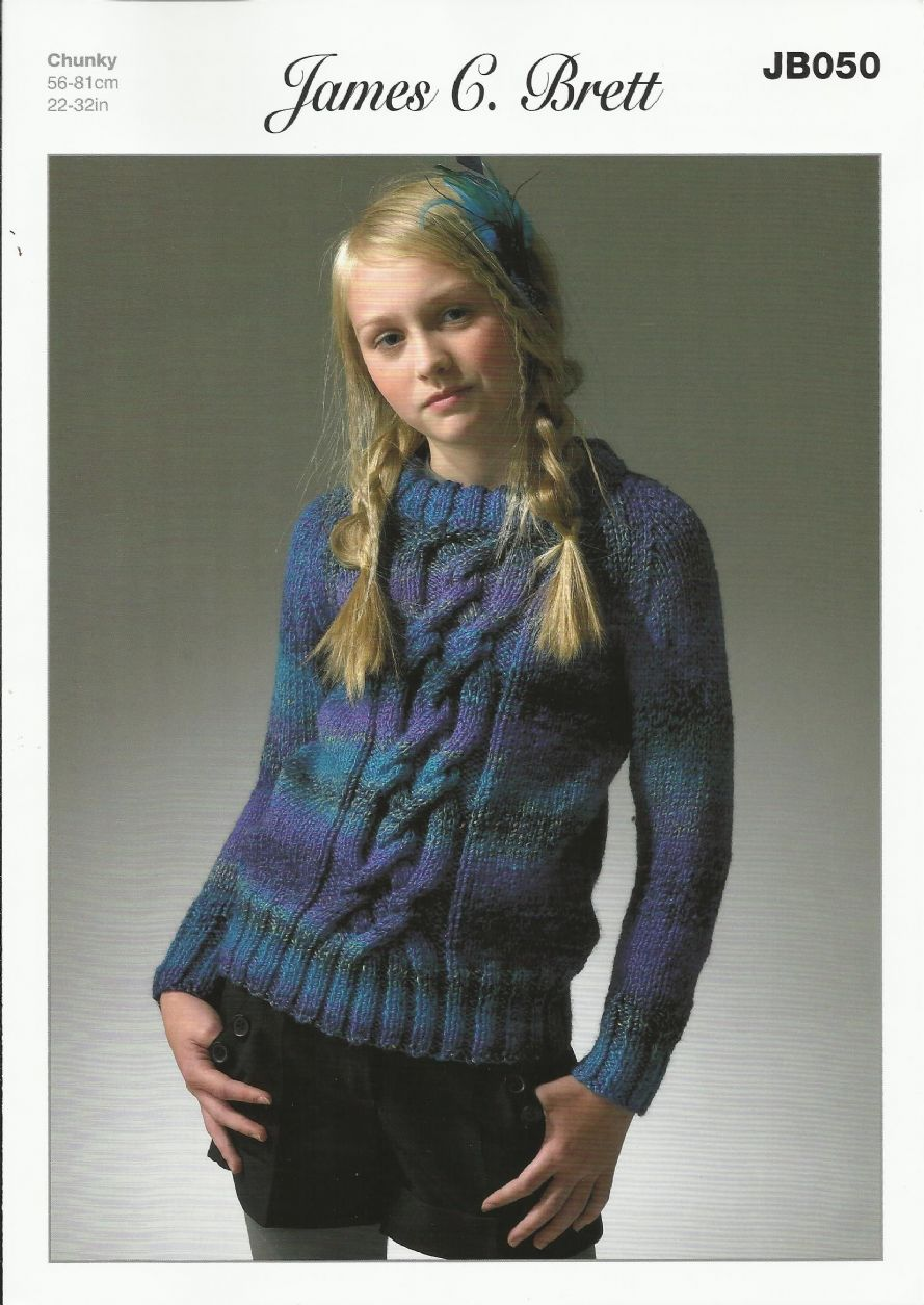 James C Brett Girls Sweater Knitting Pattern In Marble