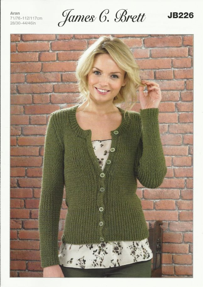 Women s Cardigan Knitting Patterns : James C Brett Ladies Cardigan Aran Knitting Pattern JB226