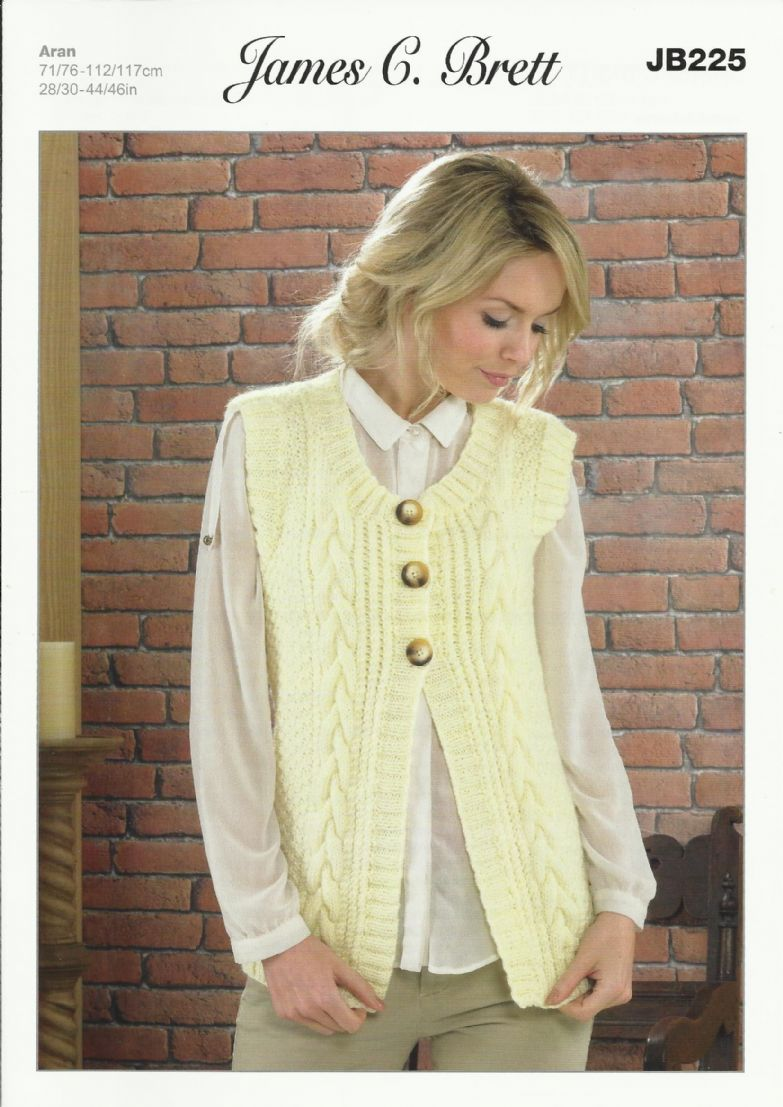 Knitting Patterns Ladies Waistcoats : James C Brett Ladies Waistcoat Aran Knitting Pattern JB225