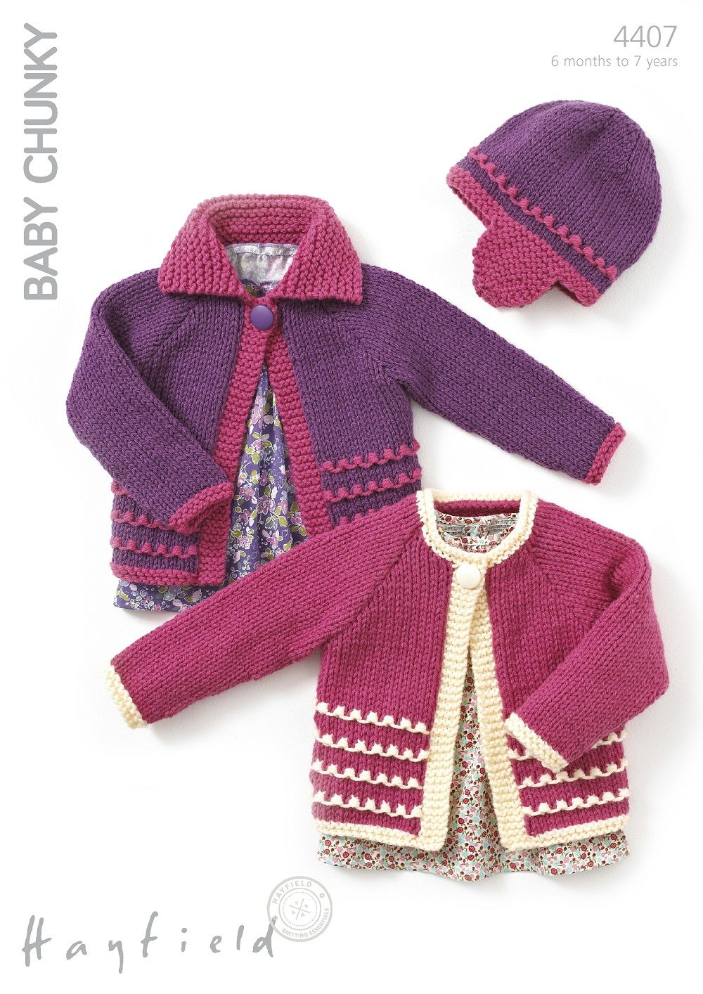 Hayfield Babies/Childrens Cardigans & Hat Knitting Pattern in Baby Chunky  (4407P) PDF