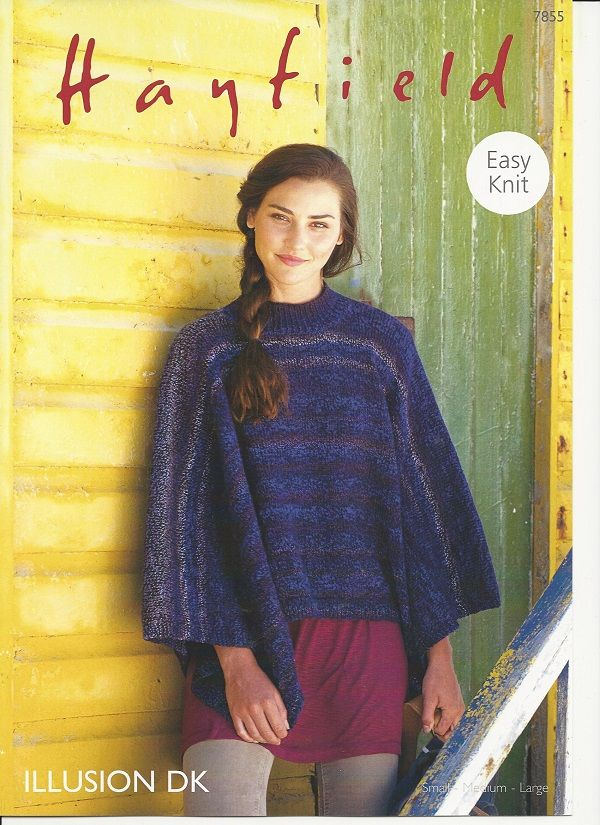 Hayfield Ladies Poncho Knitting Pattern in Illusion DK 7855