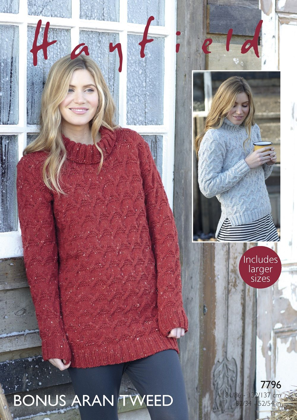 7c596a27ea08 Hayfield Ladies Sweaters knitting pattern in Bonus Aran Tweed 7796P PDF
