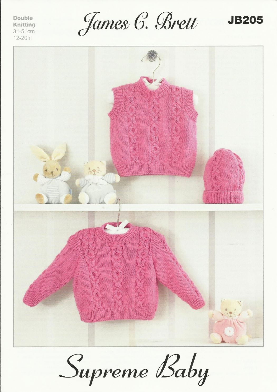 d2458a442 James C Brett Babies Sweater Slipover   Hat Baby DK Knitting Pattern ...