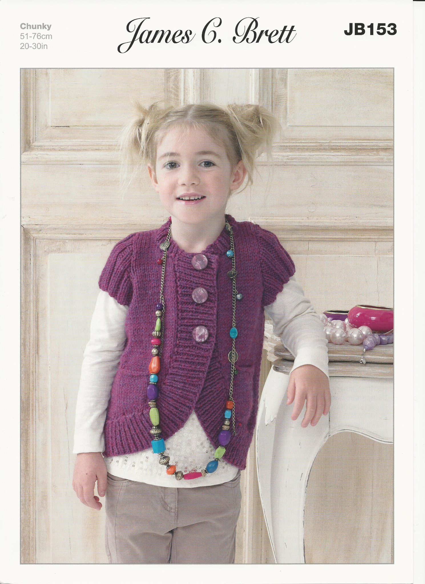 Children s Cardigan Knitting Patterns : James C Brett Childrens Cardigan Knitting Pattern in Chunky with Merino JB153