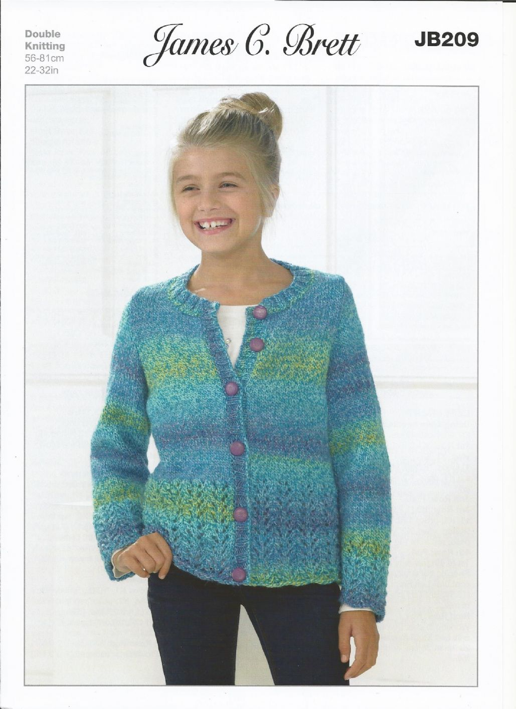 Knitting Pattern Cardigan Girl : James C Brett Girls Cardigan Marble DK Knitting Pattern JB209