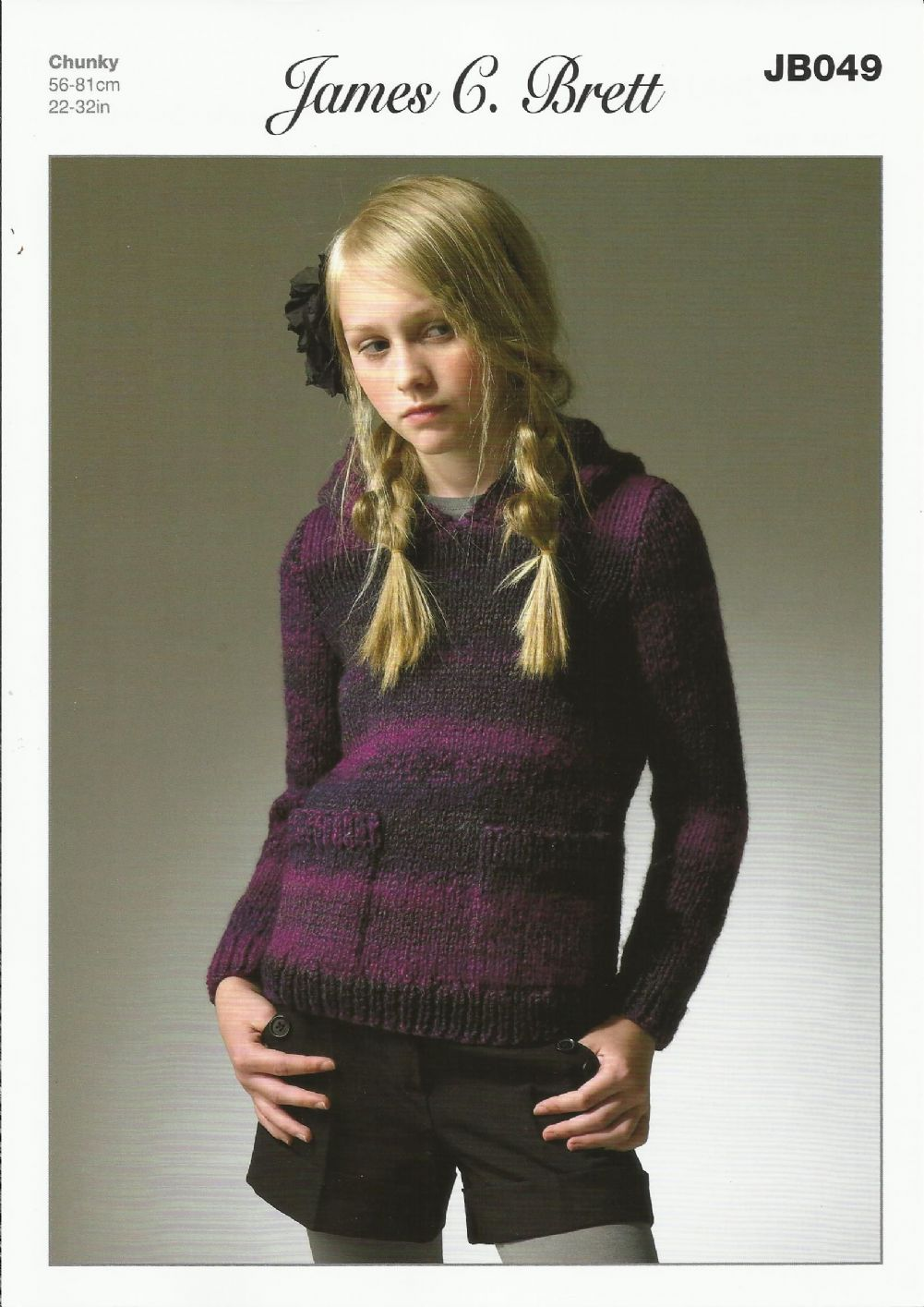 James C Brett Girls Hooded Sweater Knitting Pattern in Marble Chunky ...