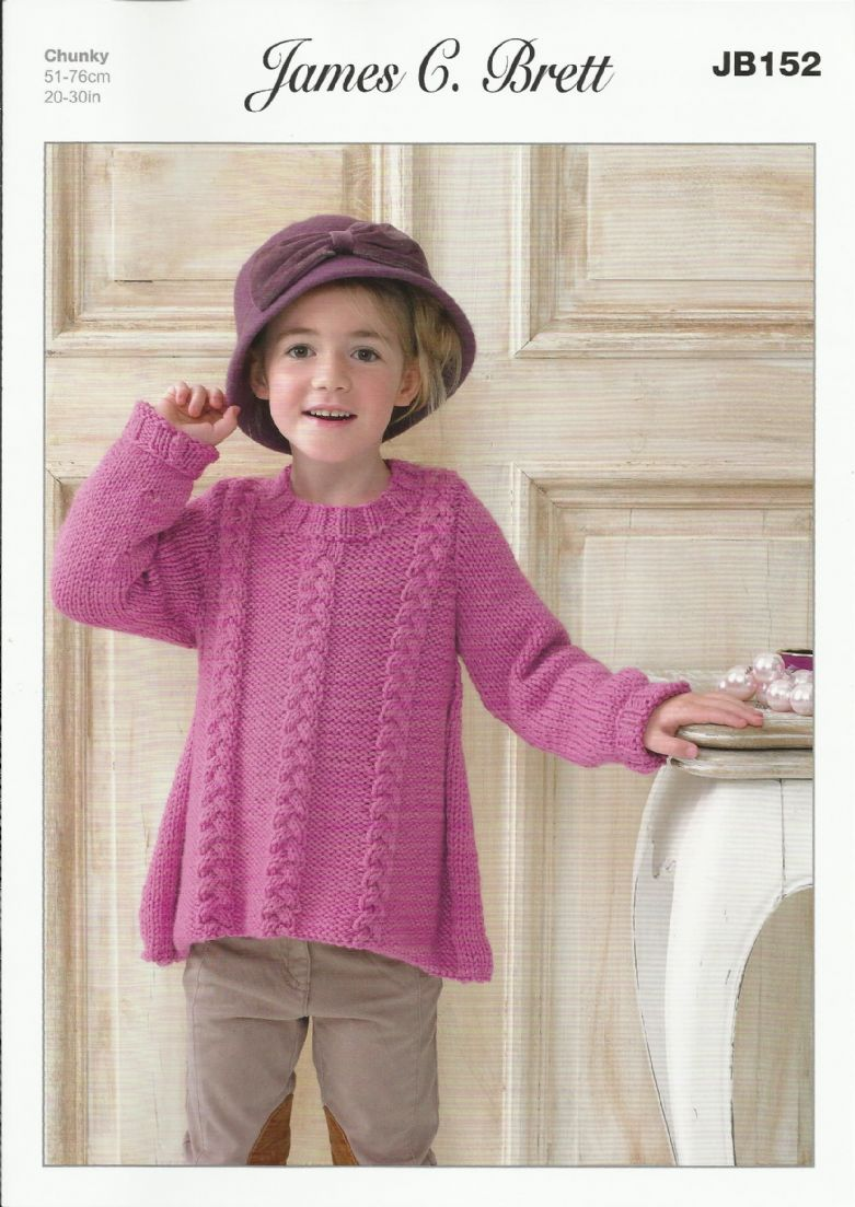 Free Knitting Patterns For Girls Sweaters : James C Brett Girls Sweater Knitting Pattern in Chunky with Merino JB152