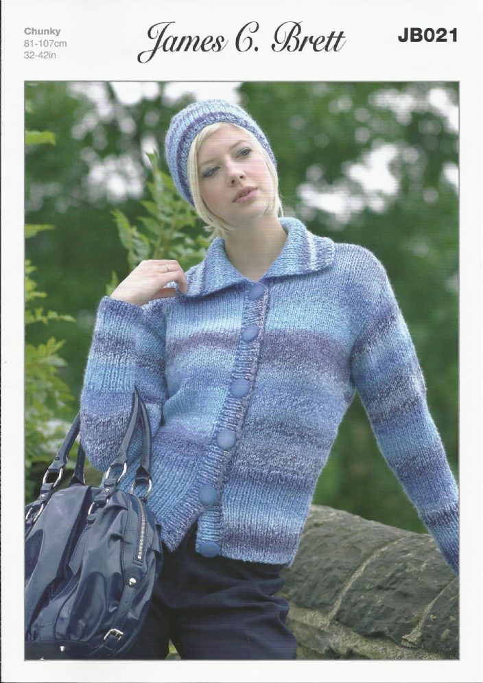 8f317fdb7dad0 James C Brett Ladies Cardigan   Hat in Marble Chunky Knitting Pattern  (JB021) .