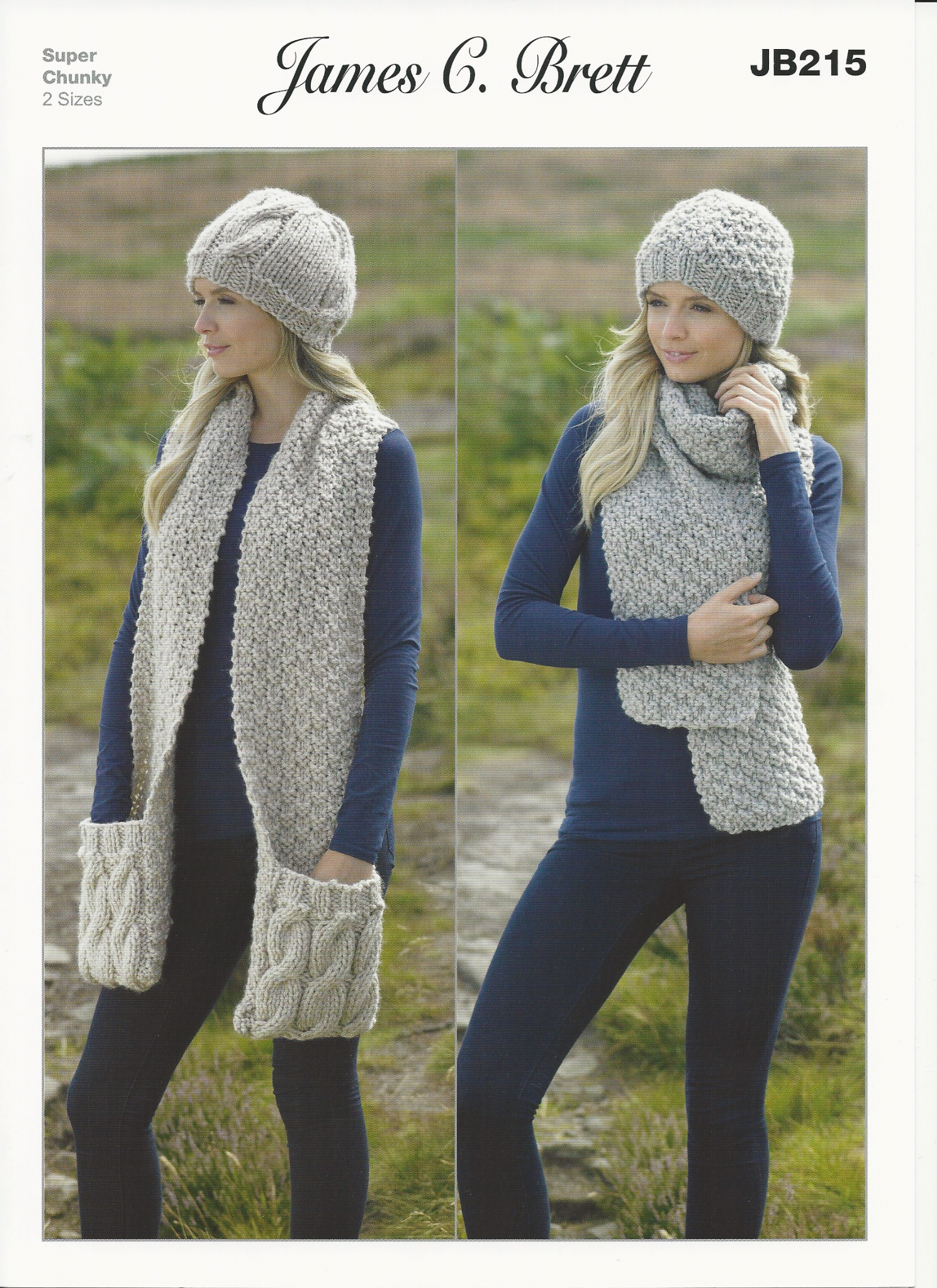 James C Brett Ladies Hats and Scarves Super Chunky Knitting Pattern ...