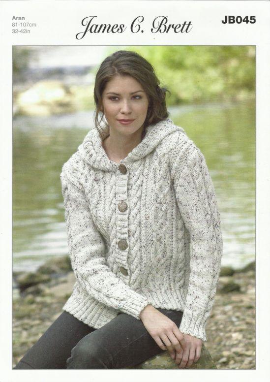 Free Knitting Pattern Ladies Aran Jacket : James C Brett Ladies Hooded Jacket in Aran with Wool ...