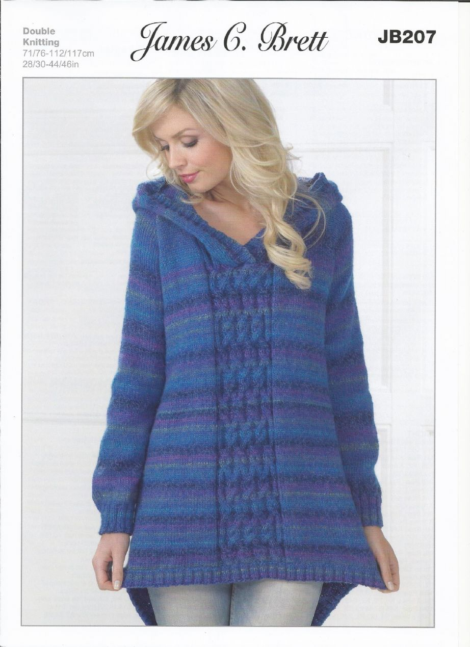 James C Brett Ladies Hooded Sweater in Marble DK Knitting Pattern JB207