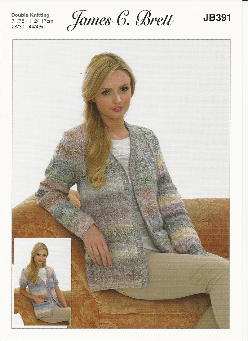 James C Brett Ladies Jackets Knitting Pattern In Marble Dk
