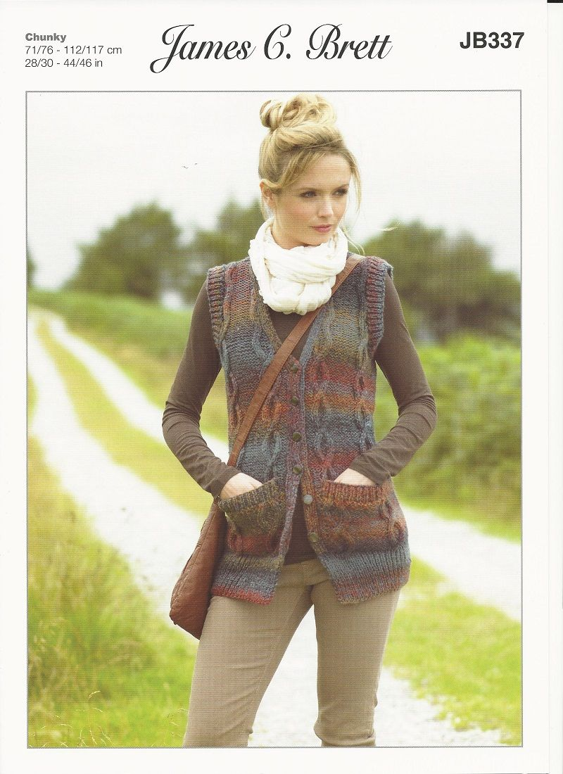 James C Brett Ladies Waistcoat Knitting Pattern In Marble