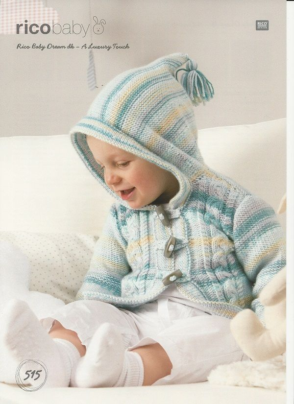 Rico Babies Cabled Jackets Knitting Pattern In Baby Dream