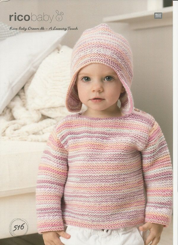 Rico Babies Hat And Sweater Knitting Pattern In Baby Dream Dk 516