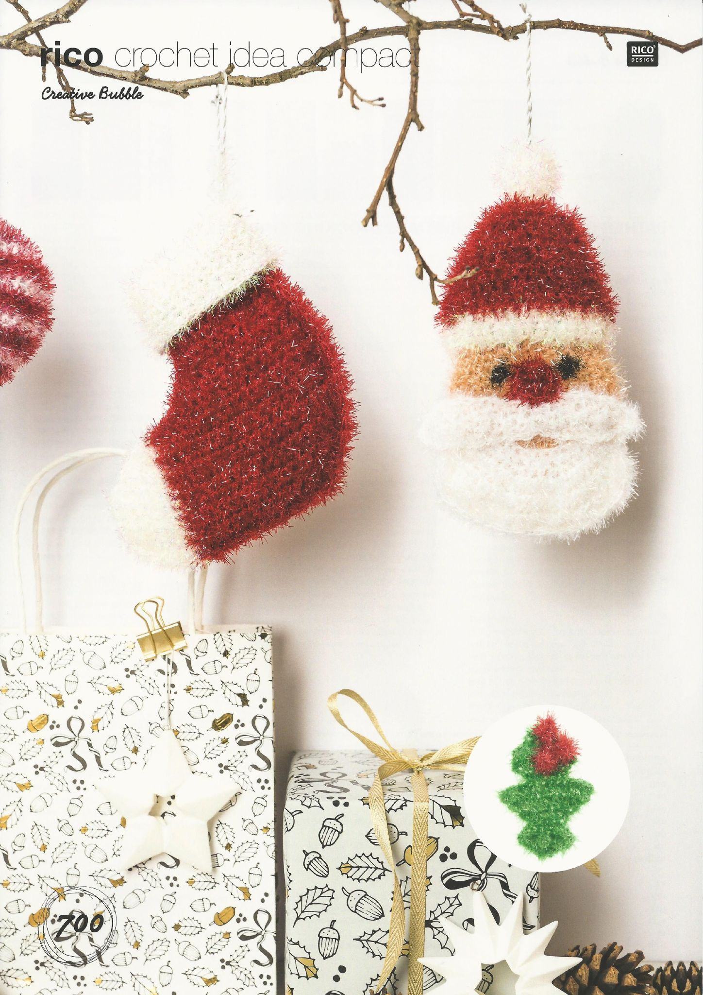 Rico Father Christmas Stocking & Holly Leaf Crochet Pattern in ...