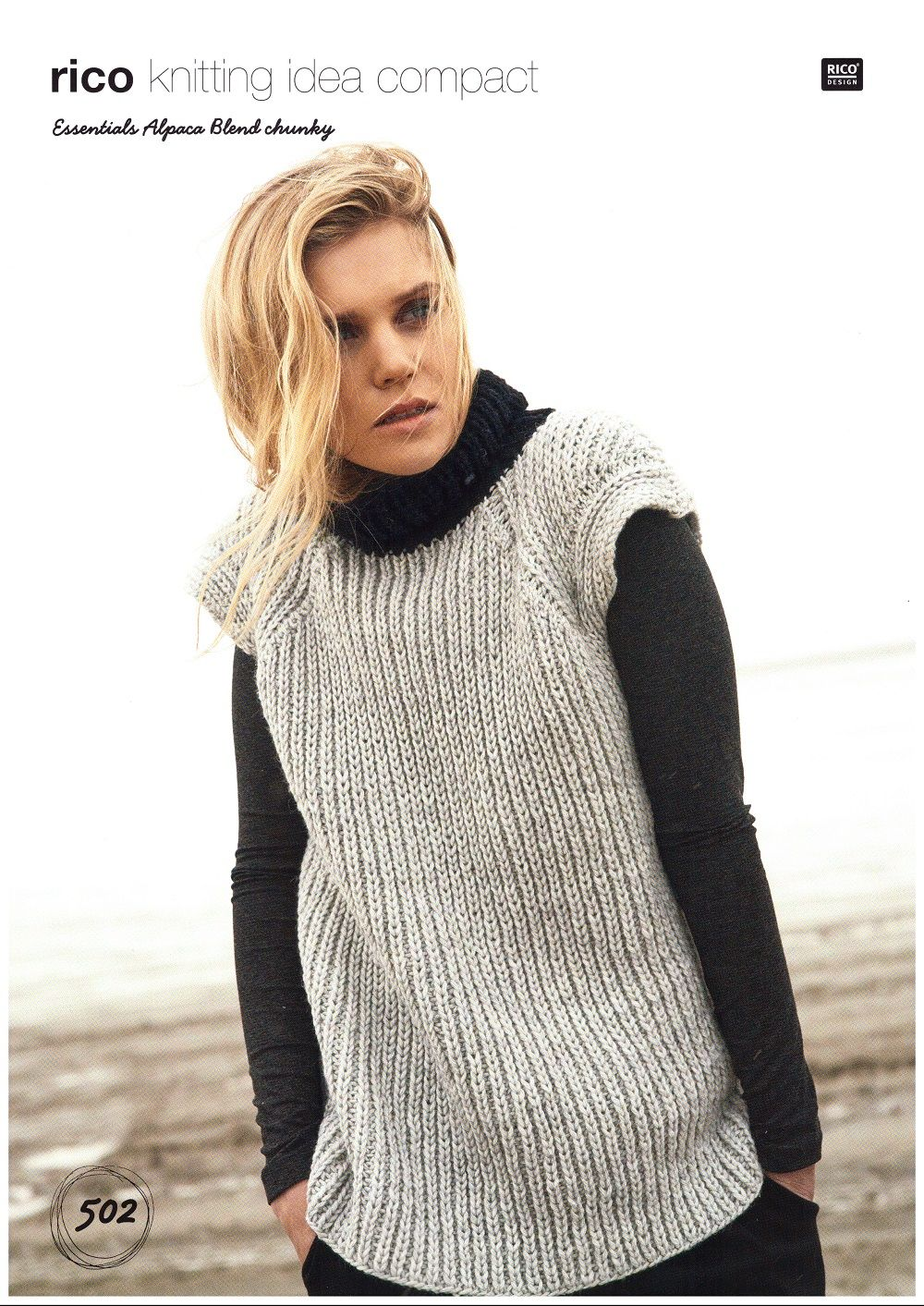 Rico Ladies Vest Knitting Pattern In Essentials Alpaca Blend Chunky 502