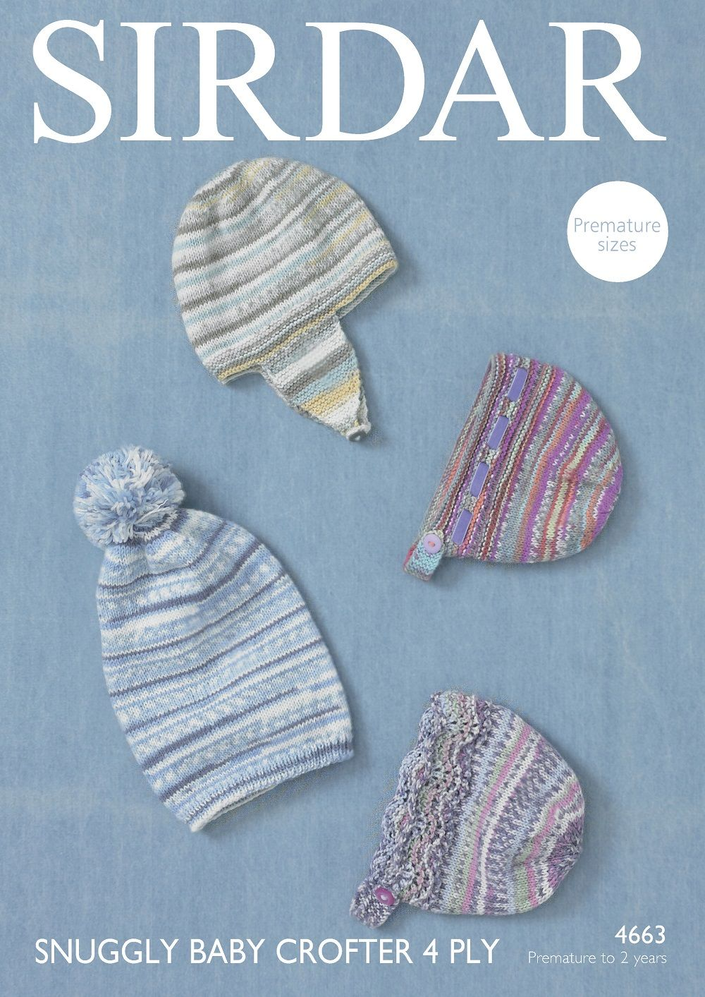 45232727c83 Sirdar Babies Hats Knitting Pattern in Baby Crofter 4ply 4663P PDF