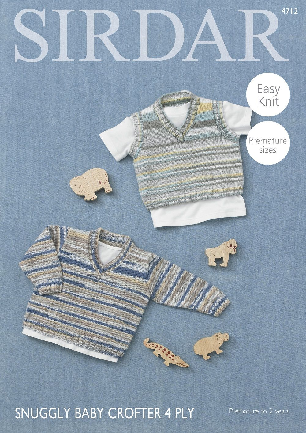 c7bf596fa Sirdar Babies Sweater & Tank Top Knitting Pattern in Baby Crofter 4ply  4712P PDF