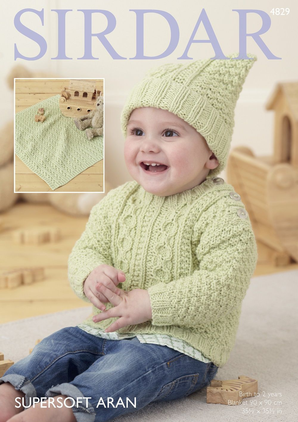 6a4fbc504 Sirdar Babies Sweaters Knitting pattern in Supersoft Aran 4829P PDF