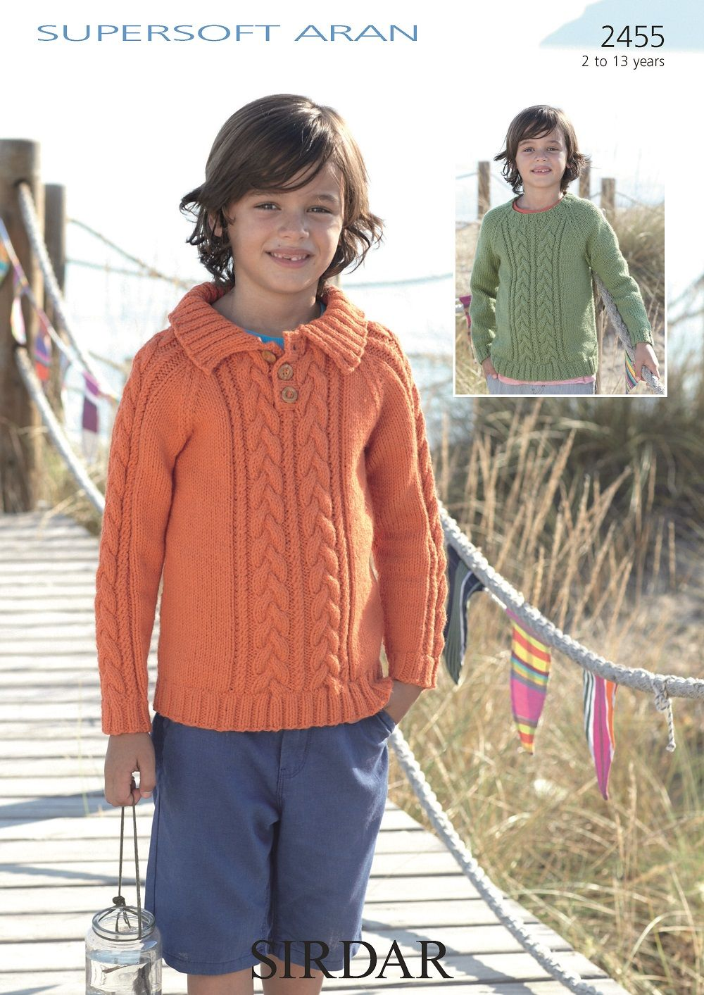 Sirdar Boys Sweaters Knitting pattern in Supersoft Aran 2455P PDF