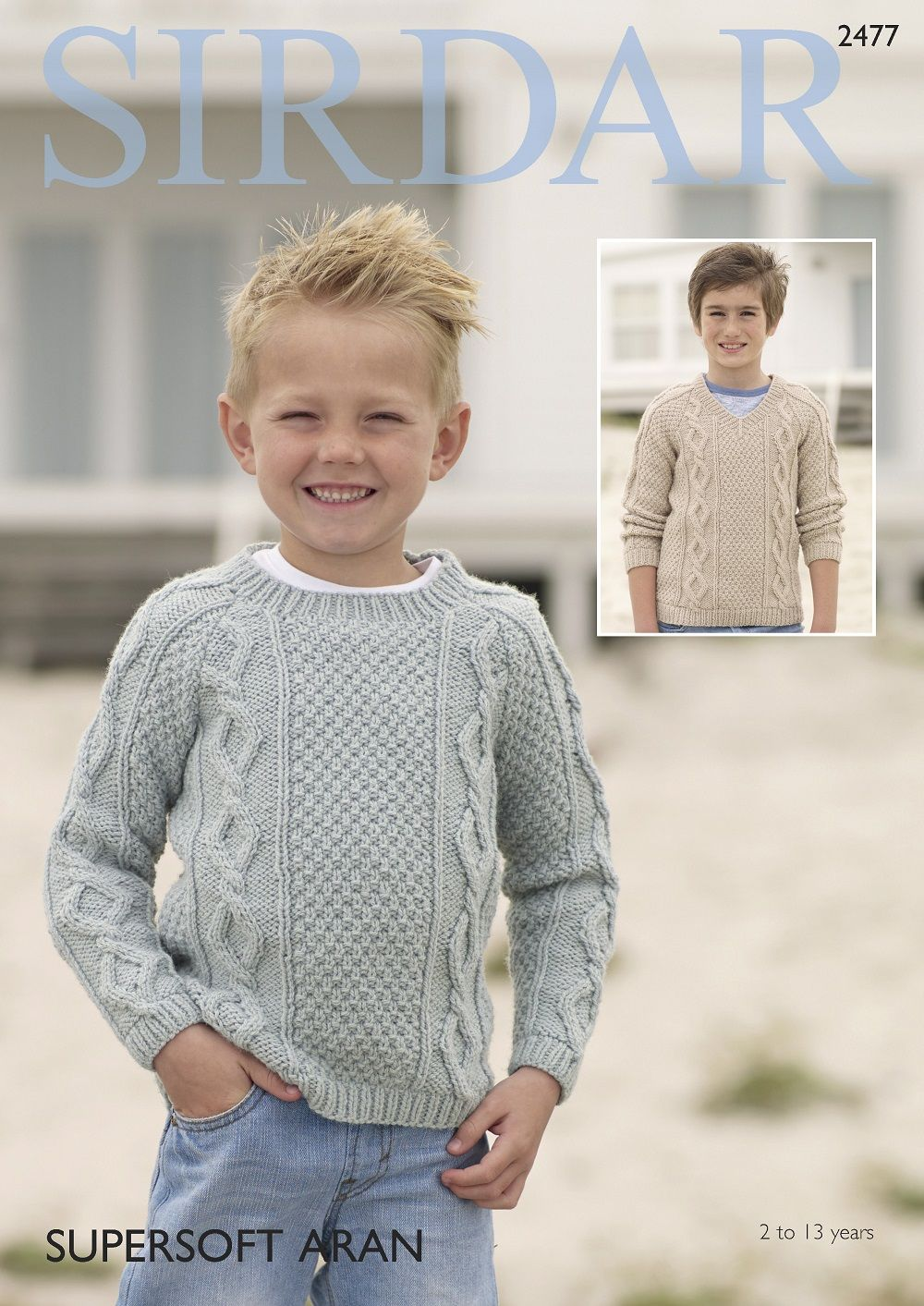 Sirdar Boys Sweaters Knitting pattern in Supersoft Aran 2477P PDF